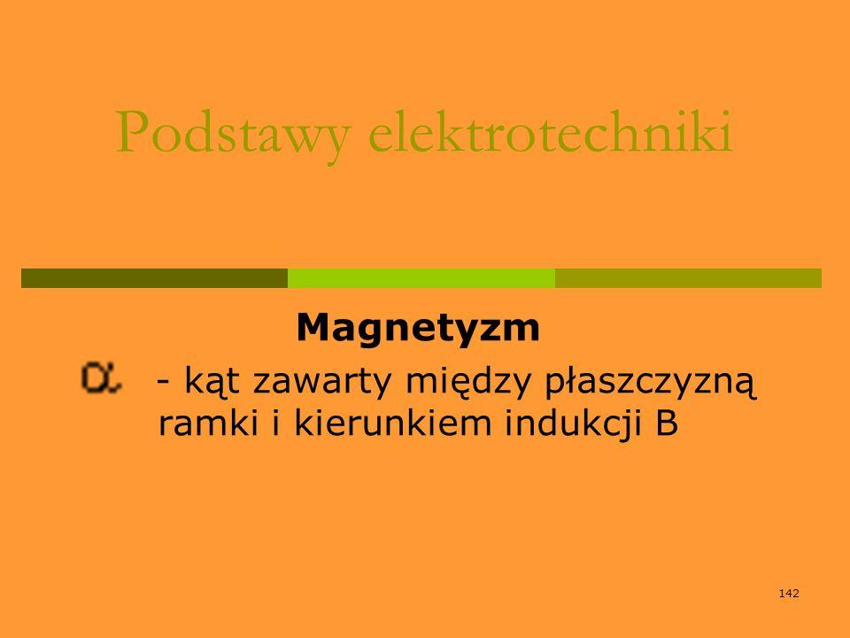 142 Podstawy elektrotechniki Magnetyzm - kąt zawarty między płaszczyzną ramki i kierunkiem indukcji B