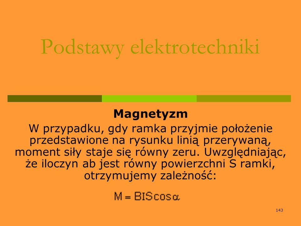 143 Podstawy elektrotechniki Magnetyzm W przypadku, gdy ramka przyjmie położenie przedstawione na rysunku linią przerywaną, moment siły staje się równ