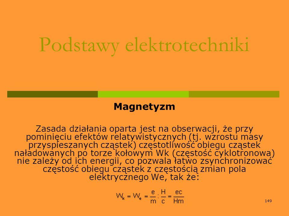 149 Podstawy elektrotechniki Magnetyzm Zasada działania oparta jest na obserwacji, że przy pominięciu efektów relatywistycznych (tj. wzrostu masy przy