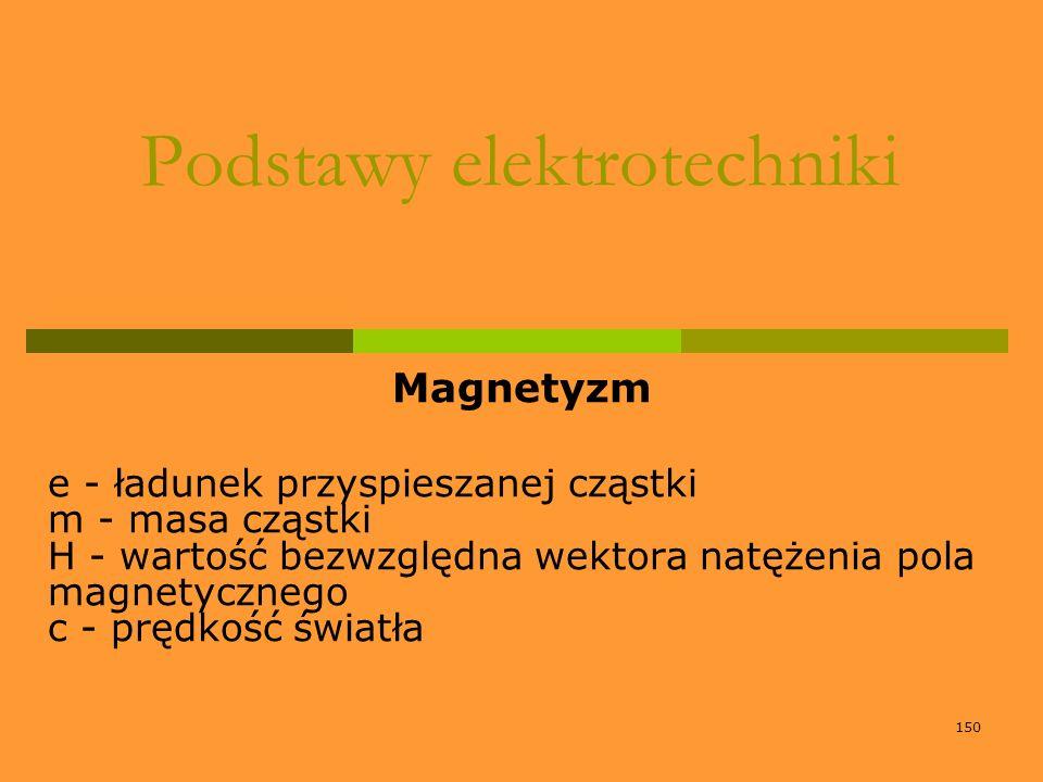 150 Podstawy elektrotechniki Magnetyzm e - ładunek przyspieszanej cząstki m - masa cząstki H - wartość bezwzględna wektora natężenia pola magnetyczneg
