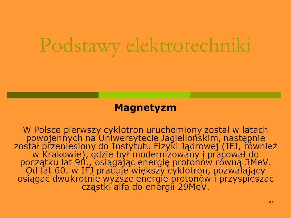 153 Podstawy elektrotechniki Magnetyzm W Polsce pierwszy cyklotron uruchomiony został w latach powojennych na Uniwersytecie Jagiellońskim, następnie z