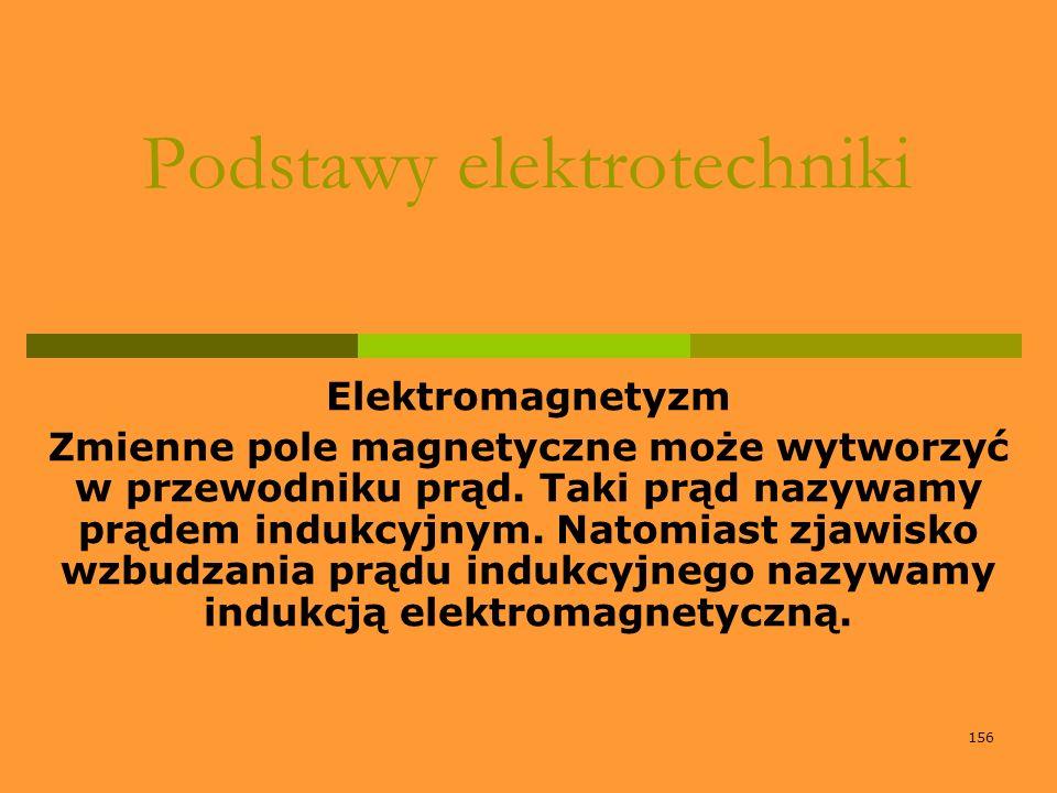156 Podstawy elektrotechniki Elektromagnetyzm Zmienne pole magnetyczne może wytworzyć w przewodniku prąd. Taki prąd nazywamy prądem indukcyjnym. Natom