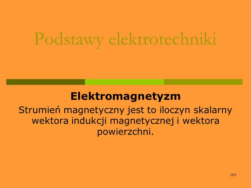 163 Podstawy elektrotechniki Elektromagnetyzm Strumień magnetyczny jest to iloczyn skalarny wektora indukcji magnetycznej i wektora powierzchni.
