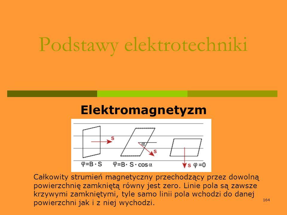 164 Podstawy elektrotechniki Elektromagnetyzm Całkowity strumień magnetyczny przechodzący przez dowolną powierzchnię zamkniętą równy jest zero. Linie