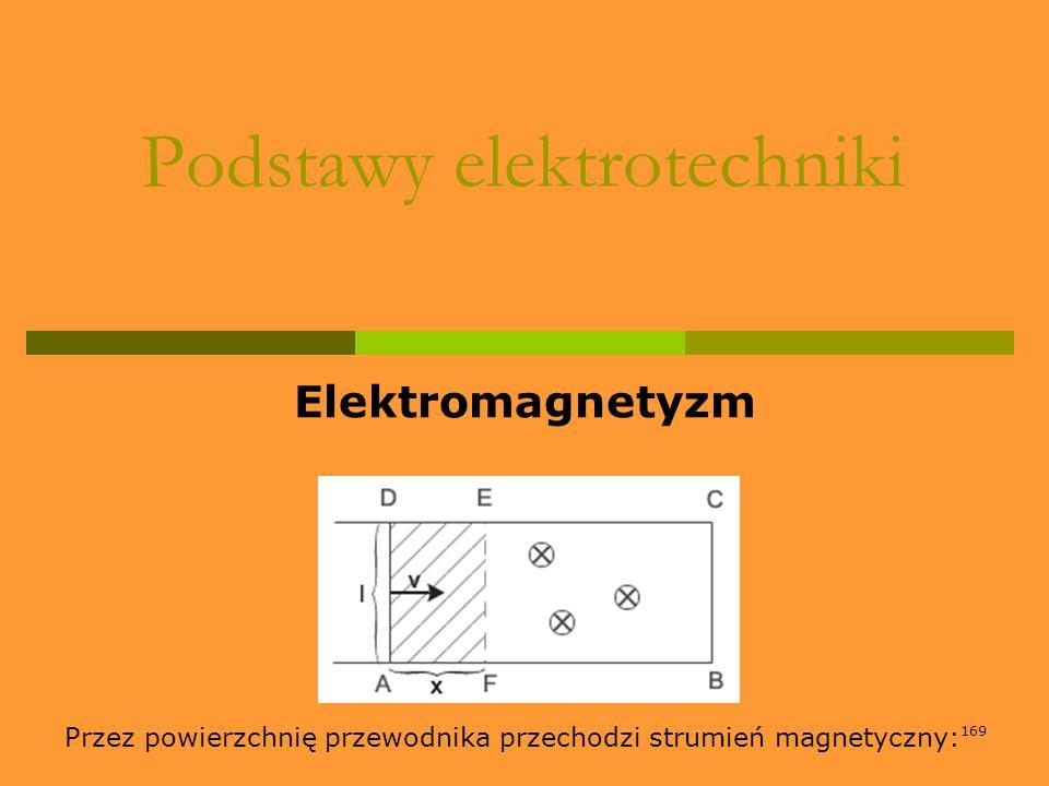 169 Podstawy elektrotechniki Elektromagnetyzm Przez powierzchnię przewodnika przechodzi strumień magnetyczny: