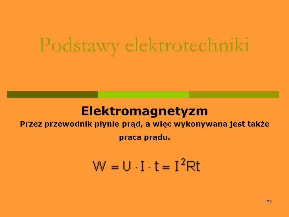 172 Podstawy elektrotechniki Elektromagnetyzm Przez przewodnik płynie prąd, a więc wykonywana jest także praca prądu.