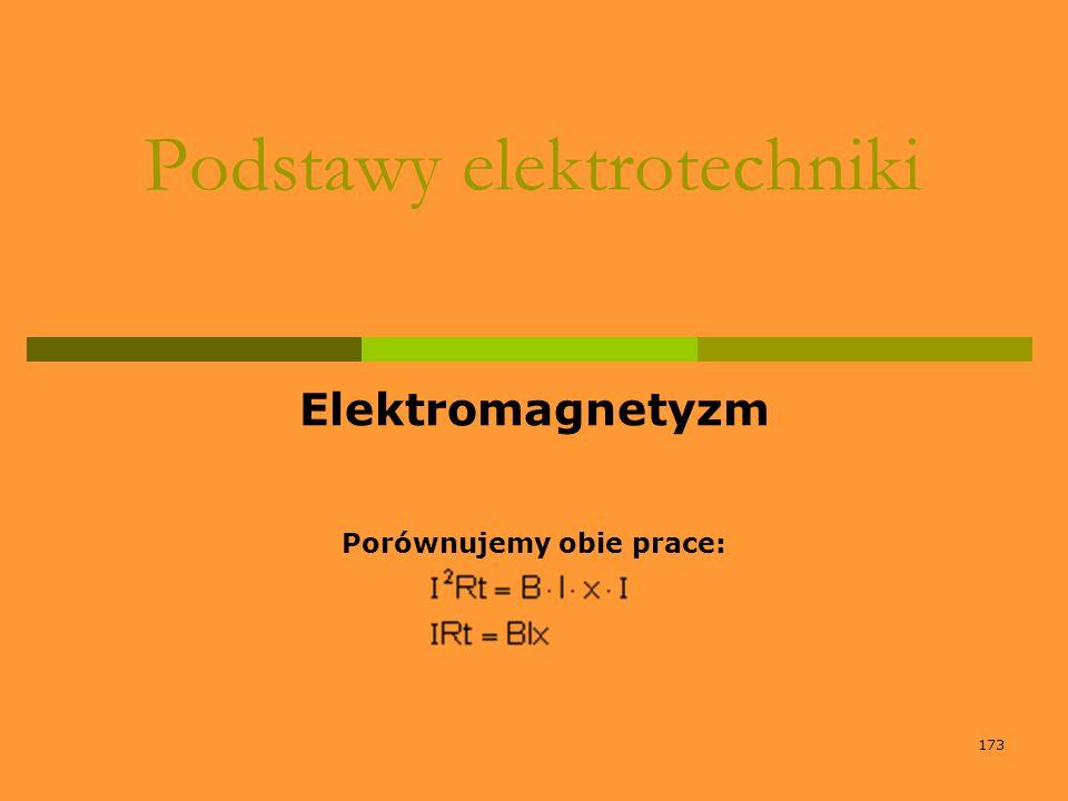173 Podstawy elektrotechniki Elektromagnetyzm Porównujemy obie prace: