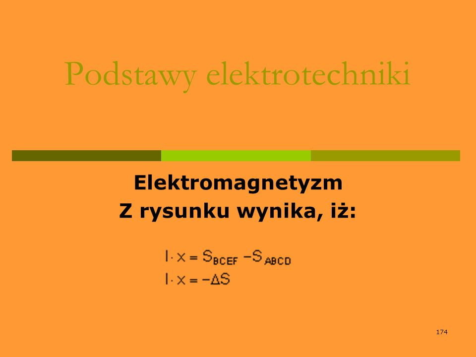 174 Podstawy elektrotechniki Elektromagnetyzm Z rysunku wynika, iż: