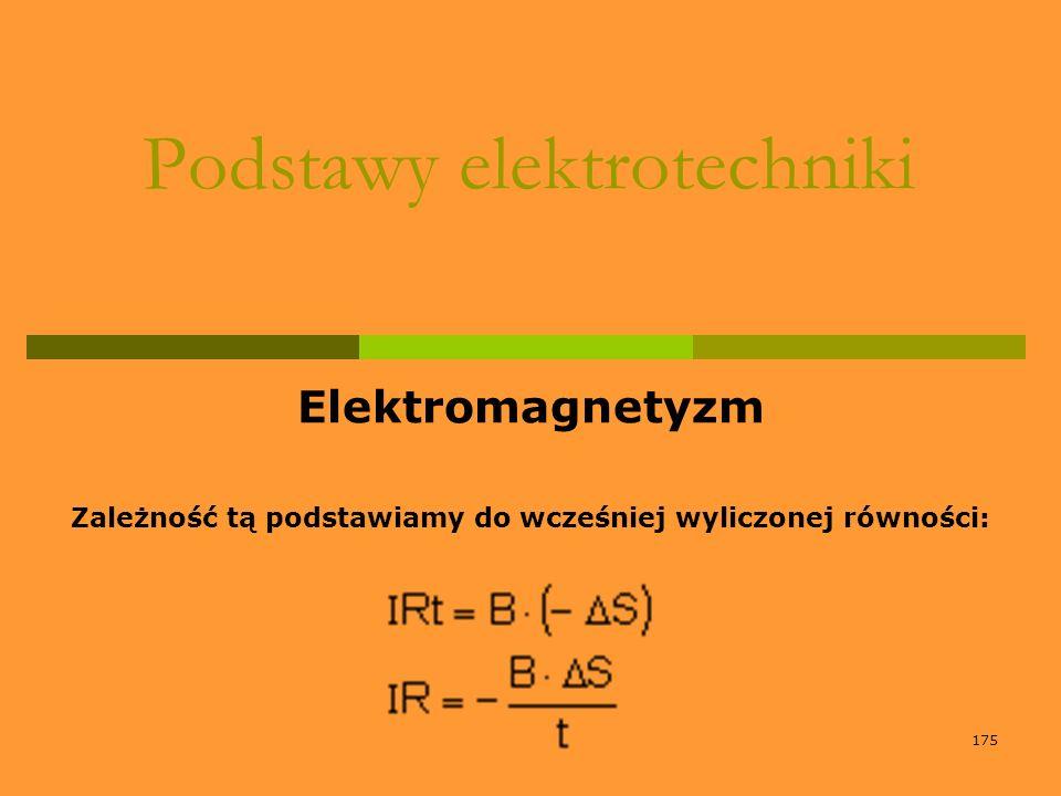 175 Podstawy elektrotechniki Elektromagnetyzm Zależność tą podstawiamy do wcześniej wyliczonej równości: