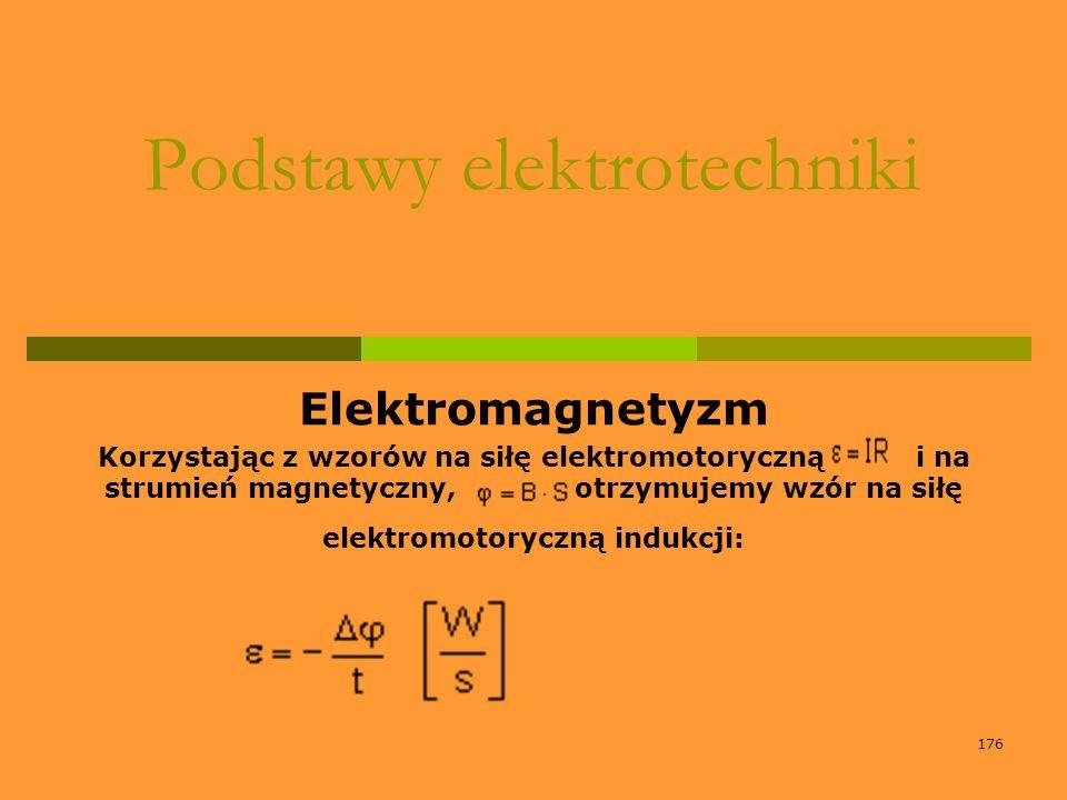 176 Podstawy elektrotechniki Elektromagnetyzm Korzystając z wzorów na siłę elektromotoryczną i na strumień magnetyczny, otrzymujemy wzór na siłę elekt