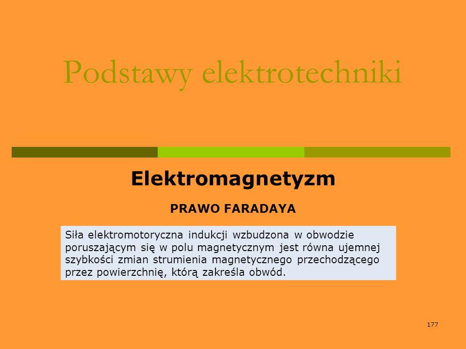 177 Podstawy elektrotechniki Elektromagnetyzm PRAWO FARADAYA Siła elektromotoryczna indukcji wzbudzona w obwodzie poruszającym się w polu magnetycznym