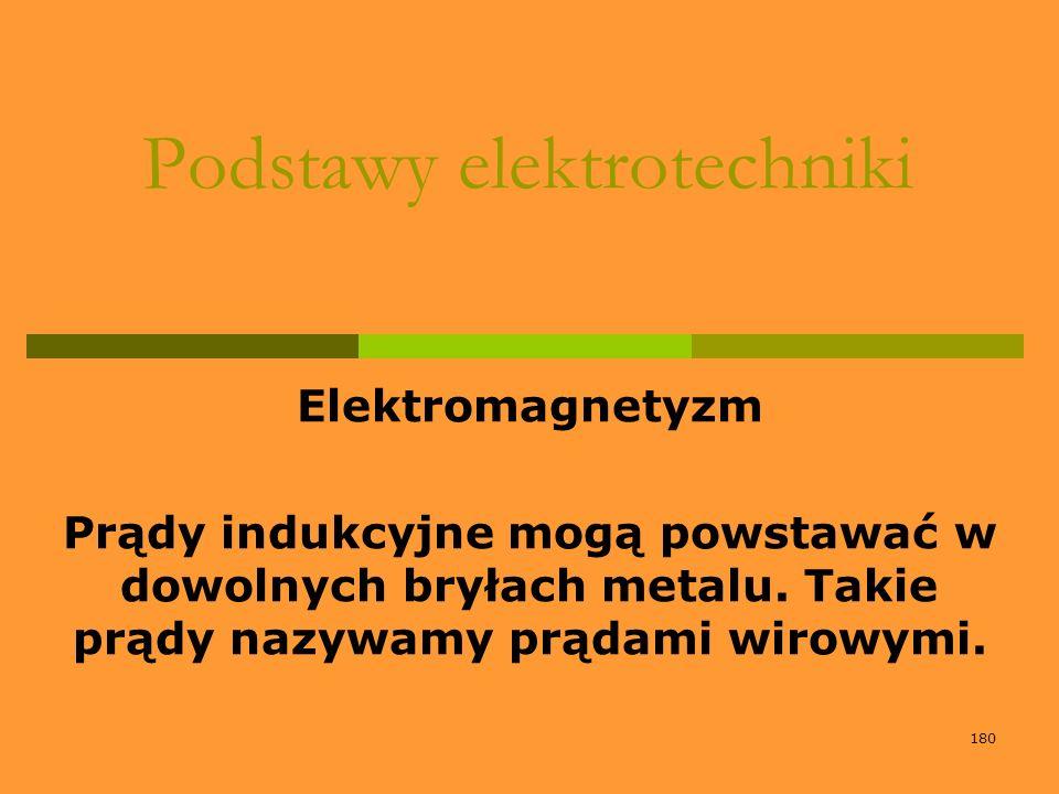 180 Podstawy elektrotechniki Elektromagnetyzm Prądy indukcyjne mogą powstawać w dowolnych bryłach metalu. Takie prądy nazywamy prądami wirowymi.