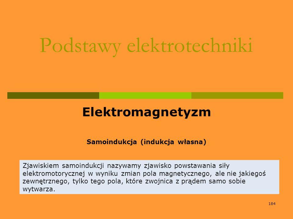 184 Podstawy elektrotechniki Elektromagnetyzm Samoindukcja (indukcja własna) Zjawiskiem samoindukcji nazywamy zjawisko powstawania siły elektromotoryc