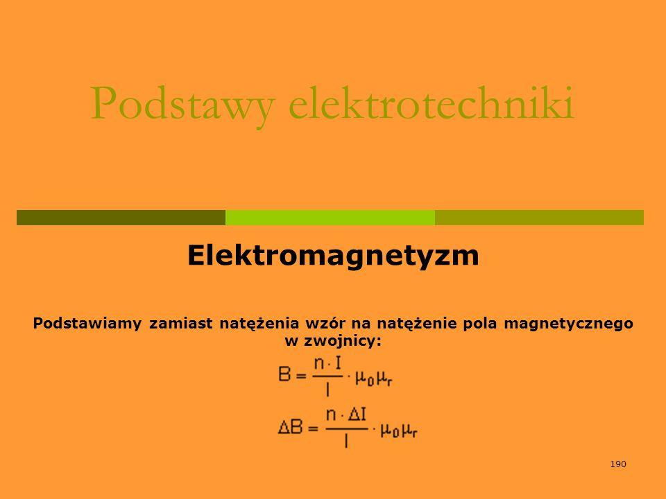 190 Podstawy elektrotechniki Elektromagnetyzm Podstawiamy zamiast natężenia wzór na natężenie pola magnetycznego w zwojnicy: