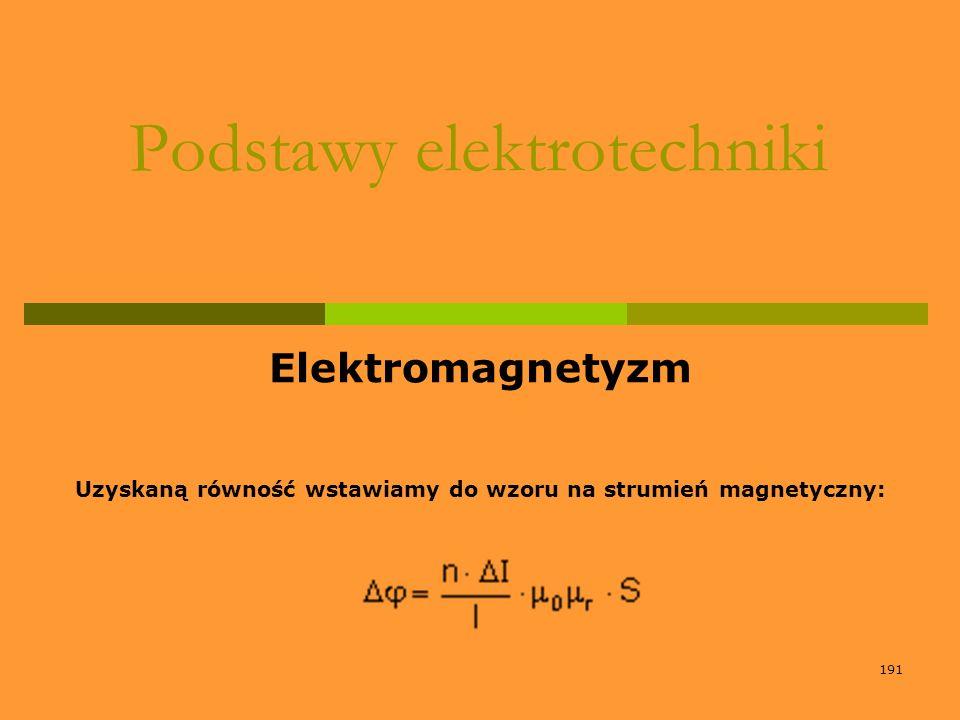 191 Podstawy elektrotechniki Elektromagnetyzm Uzyskaną równość wstawiamy do wzoru na strumień magnetyczny: