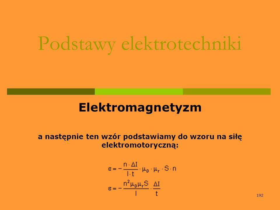 192 Podstawy elektrotechniki Elektromagnetyzm a następnie ten wzór podstawiamy do wzoru na siłę elektromotoryczną: