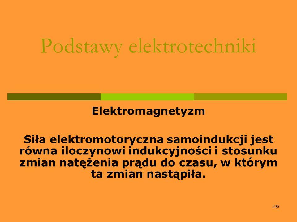 195 Podstawy elektrotechniki Elektromagnetyzm Siła elektromotoryczna samoindukcji jest równa iloczynowi indukcyjności i stosunku zmian natężenia prądu
