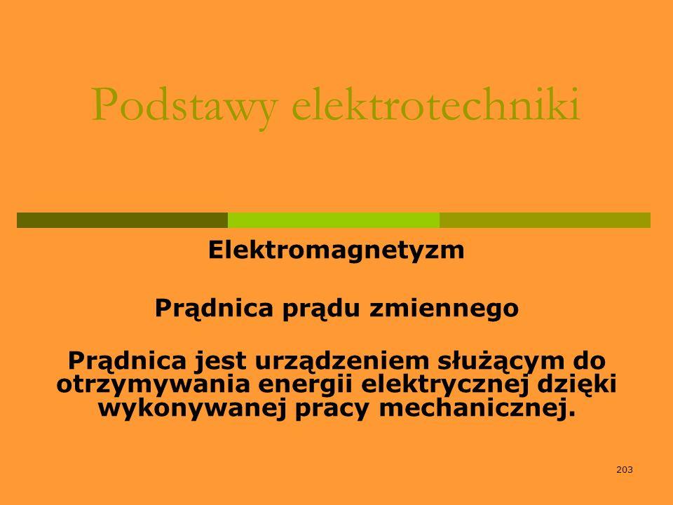 203 Podstawy elektrotechniki Elektromagnetyzm Prądnica prądu zmiennego Prądnica jest urządzeniem służącym do otrzymywania energii elektrycznej dzięki