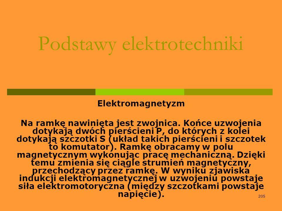 205 Podstawy elektrotechniki Elektromagnetyzm Na ramkę nawinięta jest zwojnica. Końce uzwojenia dotykają dwóch pierścieni P, do których z kolei dotyka