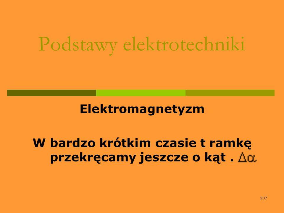 207 Podstawy elektrotechniki Elektromagnetyzm W bardzo krótkim czasie t ramkę przekręcamy jeszcze o kąt.