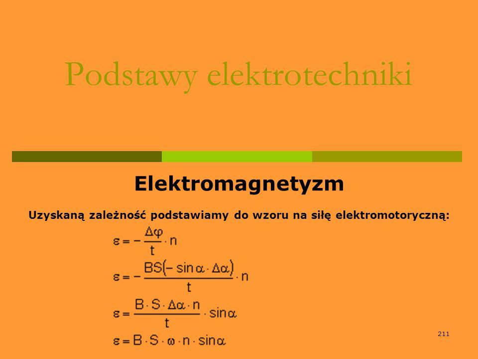 211 Podstawy elektrotechniki Elektromagnetyzm Uzyskaną zależność podstawiamy do wzoru na siłę elektromotoryczną:
