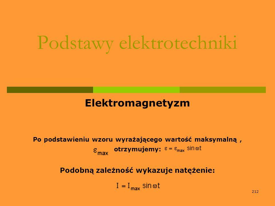 212 Podstawy elektrotechniki Elektromagnetyzm Po podstawieniu wzoru wyrażającego wartość maksymalną, otrzymujemy: Podobną zależność wykazuje natężenie