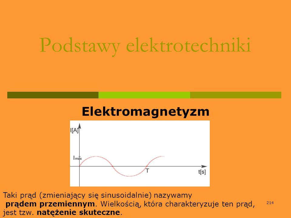 214 Podstawy elektrotechniki Elektromagnetyzm Taki prąd (zmieniający się sinusoidalnie) nazywamy prądem przemiennym. Wielkością, która charakteryzuje