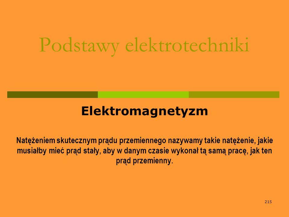 215 Podstawy elektrotechniki Elektromagnetyzm Natężeniem skutecznym prądu przemiennego nazywamy takie natężenie, jakie musiałby mieć prąd stały, aby w