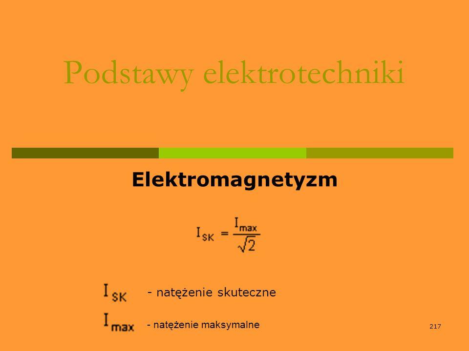 217 Podstawy elektrotechniki Elektromagnetyzm - natężenie skuteczne - natężenie maksymalne