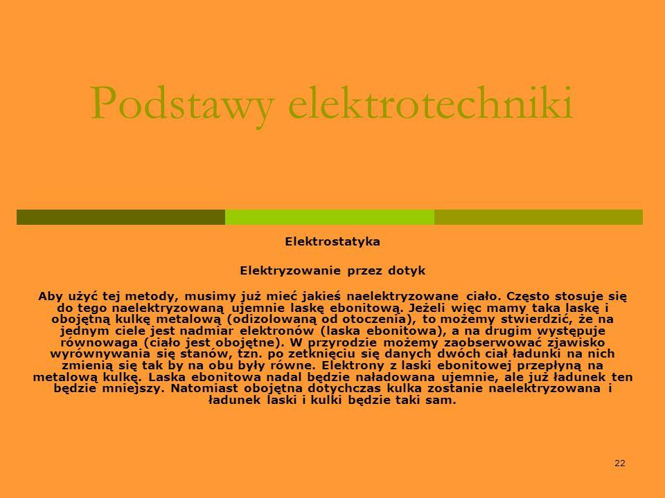 22 Podstawy elektrotechniki Elektrostatyka Elektryzowanie przez dotyk Aby użyć tej metody, musimy już mieć jakieś naelektryzowane ciało. Często stosuj