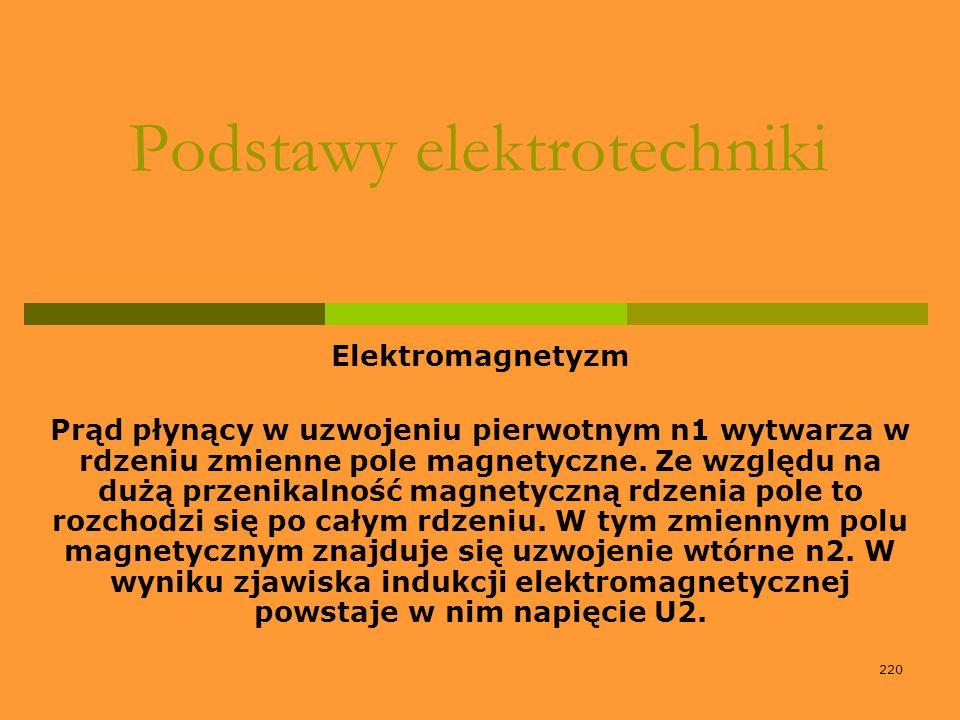220 Podstawy elektrotechniki Elektromagnetyzm Prąd płynący w uzwojeniu pierwotnym n1 wytwarza w rdzeniu zmienne pole magnetyczne. Ze względu na dużą p