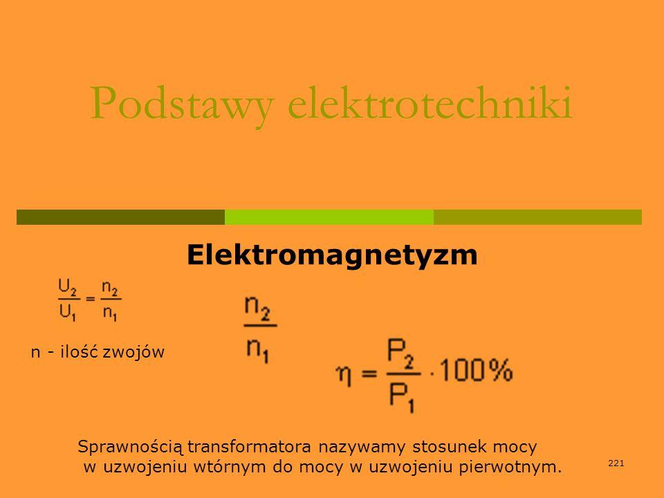 221 Podstawy elektrotechniki Elektromagnetyzm n - ilość zwojów Sprawnością transformatora nazywamy stosunek mocy w uzwojeniu wtórnym do mocy w uzwojen