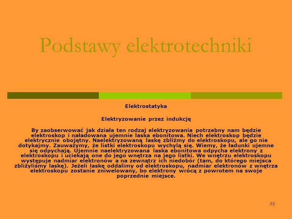 23 Podstawy elektrotechniki Elektrostatyka Elektryzowanie przez indukcję By zaobserwować jak działa ten rodzaj elektryzowania potrzebny nam będzie ele