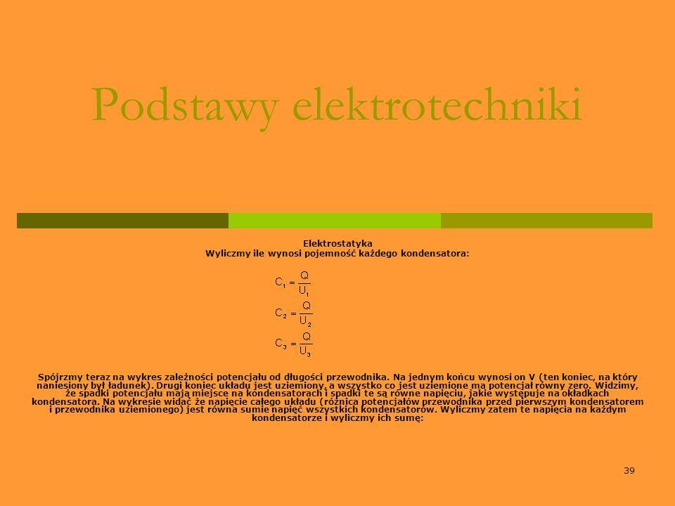39 Podstawy elektrotechniki Elektrostatyka Wyliczmy ile wynosi pojemność każdego kondensatora: Spójrzmy teraz na wykres zależności potencjału od długo