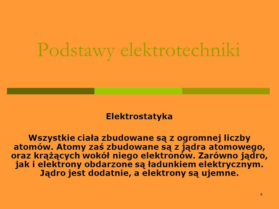 4 Podstawy elektrotechniki Elektrostatyka Wszystkie ciała zbudowane są z ogromnej liczby atomów. Atomy zaś zbudowane są z jądra atomowego, oraz krążąc