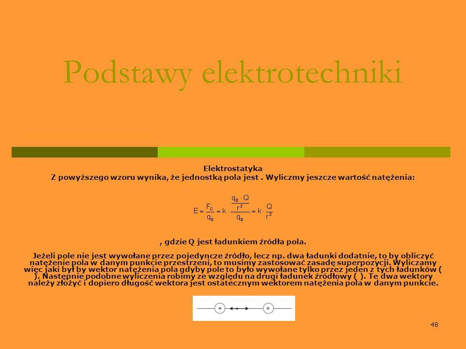 48 Podstawy elektrotechniki Elektrostatyka Z powyższego wzoru wynika, że jednostką pola jest. Wyliczmy jeszcze wartość natężenia:, gdzie Q jest ładunk
