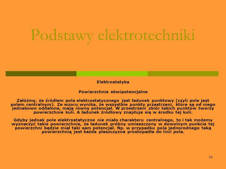 55 Podstawy elektrotechniki Elektrostatyka Powierzchnie ekwipotencjalne Załóżmy, że źródłem pola elektrostatycznego jest ładunek punktowy (czyli pole
