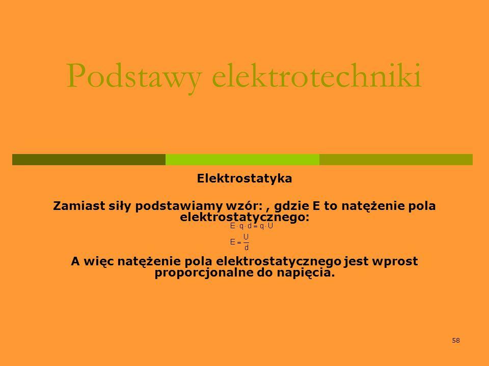 58 Podstawy elektrotechniki Elektrostatyka Zamiast siły podstawiamy wzór:, gdzie E to natężenie pola elektrostatycznego: A więc natężenie pola elektro