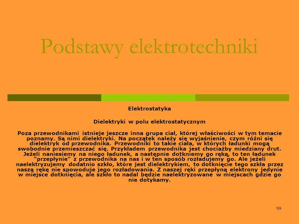 59 Podstawy elektrotechniki Elektrostatyka Dielektryki w polu elektrostatycznym Poza przewodnikami istnieje jeszcze inna grupa ciał, której właściwośc