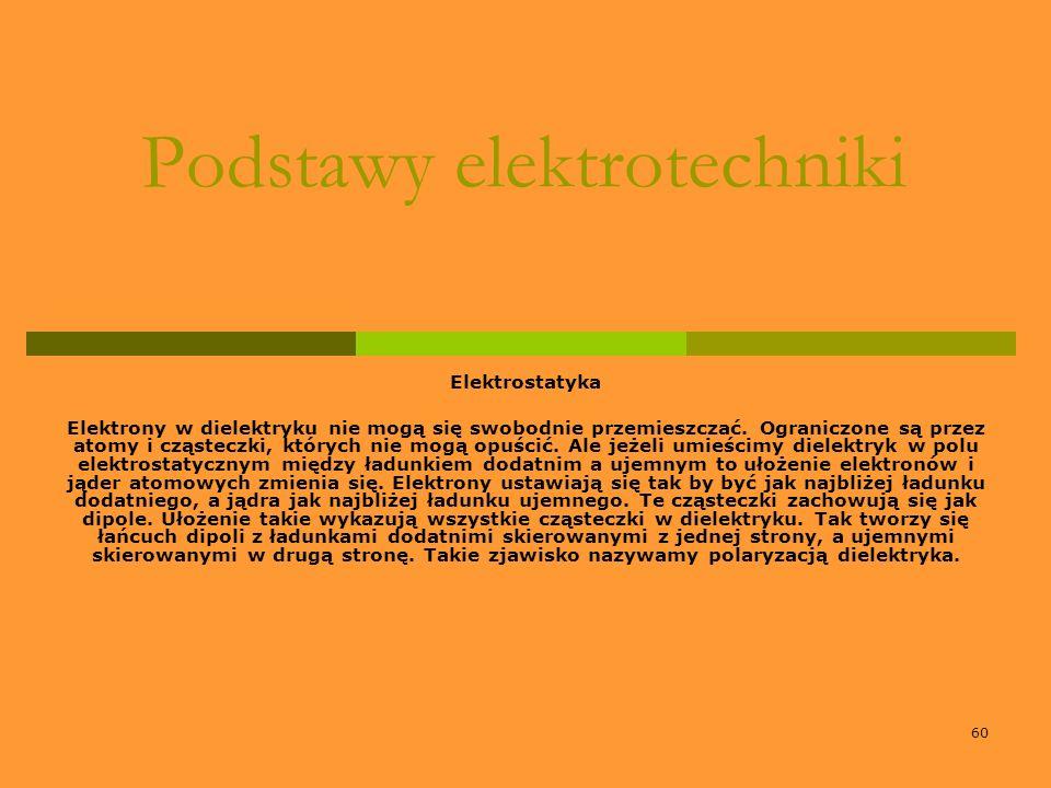 60 Podstawy elektrotechniki Elektrostatyka Elektrony w dielektryku nie mogą się swobodnie przemieszczać. Ograniczone są przez atomy i cząsteczki, któr