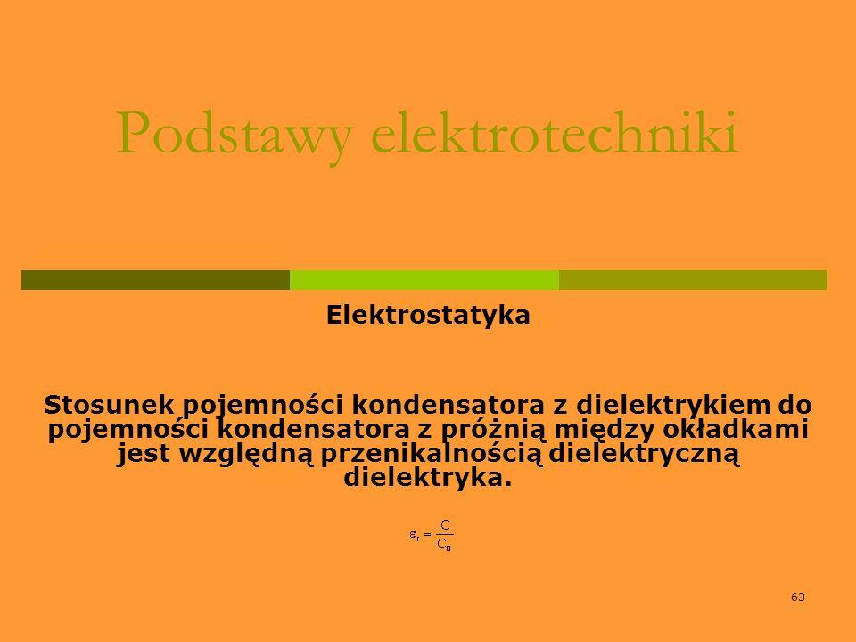 63 Podstawy elektrotechniki Elektrostatyka Stosunek pojemności kondensatora z dielektrykiem do pojemności kondensatora z próżnią między okładkami jest