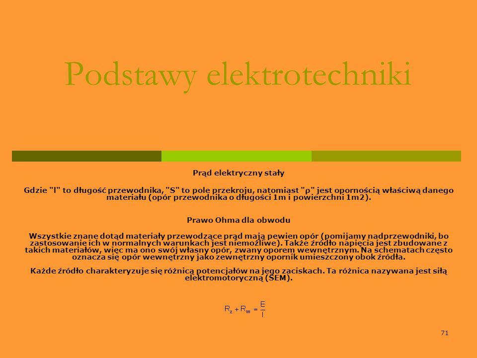 71 Podstawy elektrotechniki Prąd elektryczny stały Gdzie