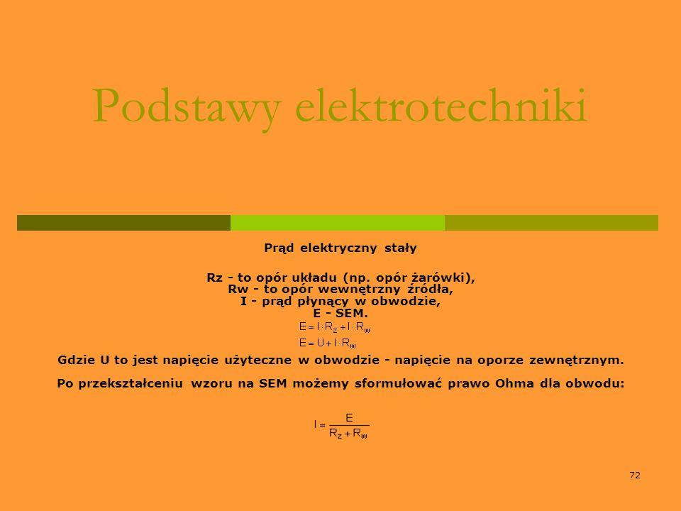 72 Podstawy elektrotechniki Prąd elektryczny stały Rz - to opór układu (np. opór żarówki), Rw - to opór wewnętrzny źródła, I - prąd płynący w obwodzie