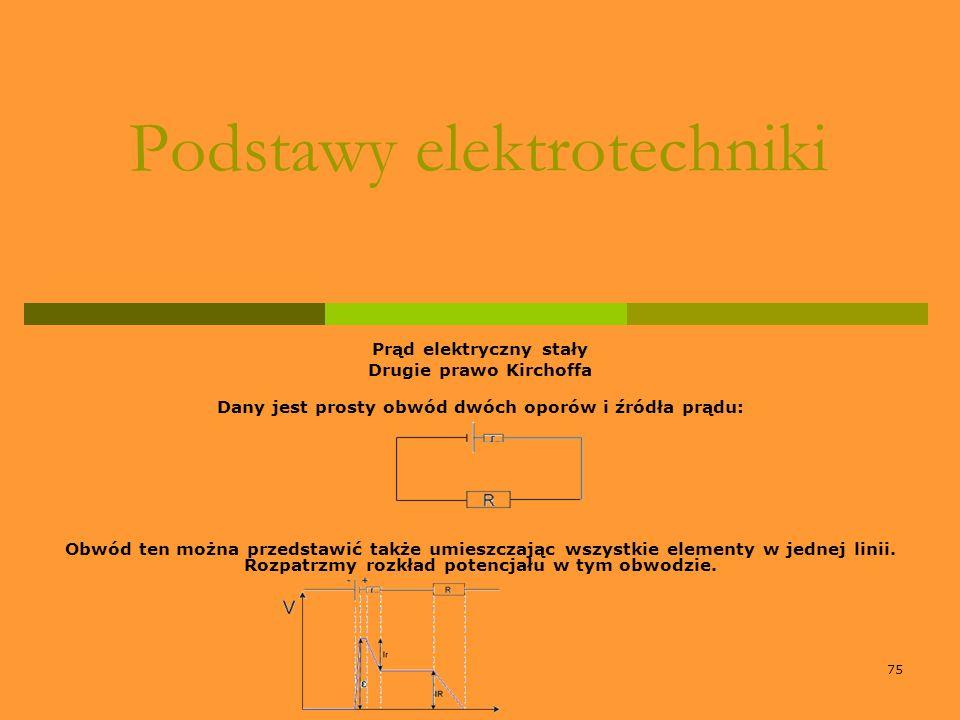 75 Podstawy elektrotechniki Prąd elektryczny stały Drugie prawo Kirchoffa Dany jest prosty obwód dwóch oporów i źródła prądu: Obwód ten można przedsta
