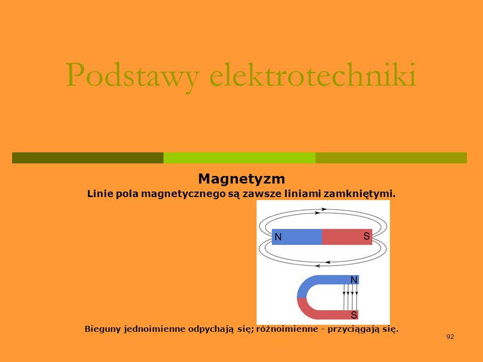 92 Podstawy elektrotechniki Magnetyzm Linie pola magnetycznego są zawsze liniami zamkniętymi. Bieguny jednoimienne odpychają się; różnoimienne - przyc