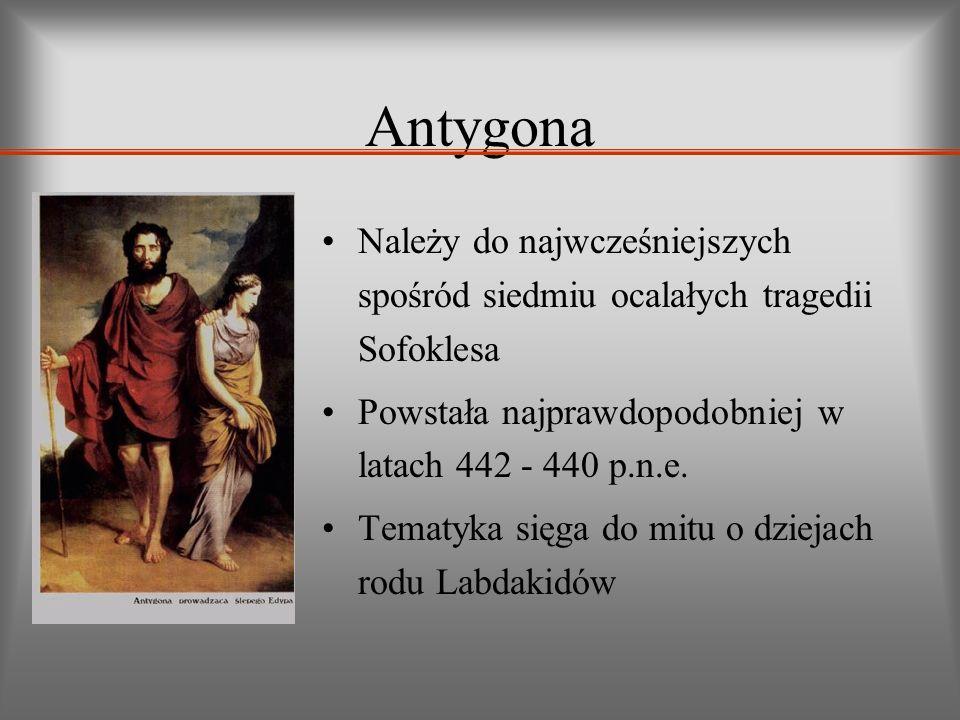 Antygona Należy do najwcześniejszych spośród siedmiu ocalałych tragedii Sofoklesa Powstała najprawdopodobniej w latach 442 - 440 p.n.e. Tematyka sięga