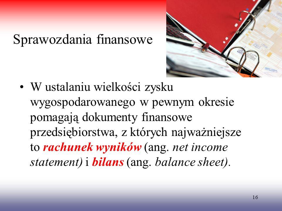 Sprawozdania finansowe W ustalaniu wielkości zysku wygospodarowanego w pewnym okresie pomagają dokumenty finansowe przedsiębiorstwa, z których najważn