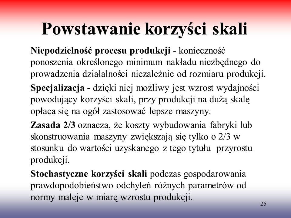 26 Powstawanie korzyści skali Niepodzielność procesu produkcji - konieczność ponoszenia określonego minimum nakładu niezbędnego do prowadzenia działal