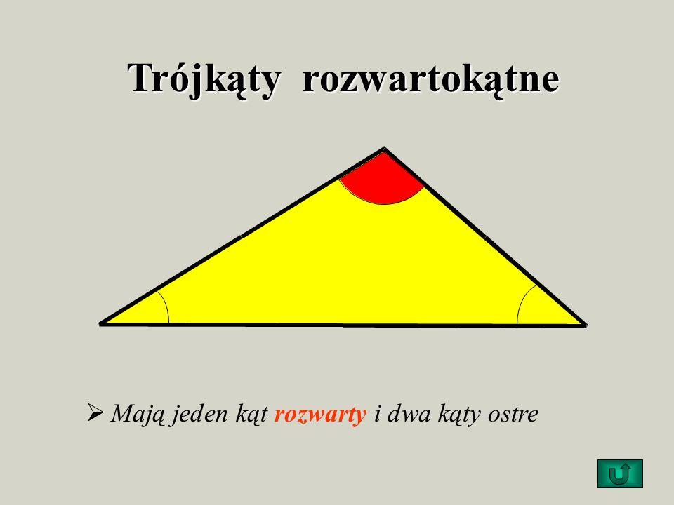 Trójkąty prostokątne Mają jeden kąt prosty i dwa kąty ostre. przyprostokątna przeciwprostokątna przyprostokątna 90º