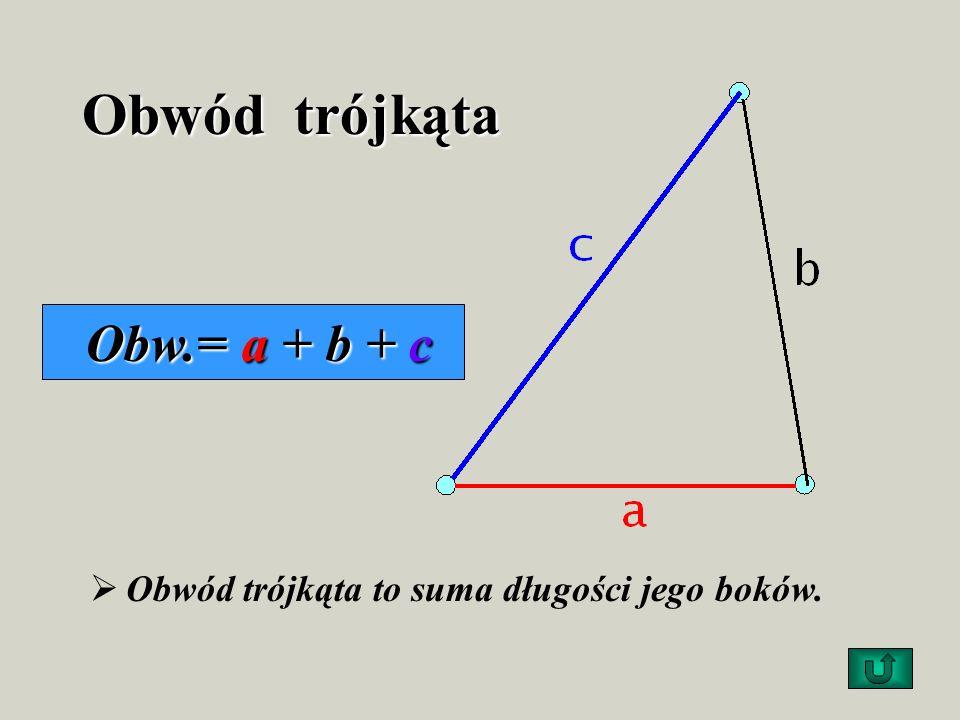 Trójkąty rozwartokątne Mają jeden kąt rozwarty i dwa kąty ostre
